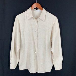 Foxcroft 10 Beige Linen Cotton Shirt Cool Comfy!